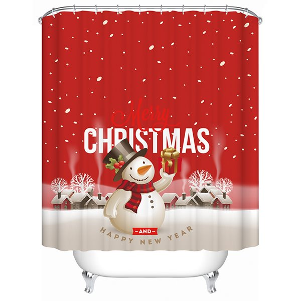Vibrant Festive Snowman with Christmas Present Printing 3D Shower Curtain 11519119