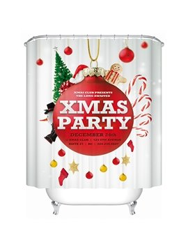 Festive Brisk Merry Christmas Party Printing 3D Shower Curtain