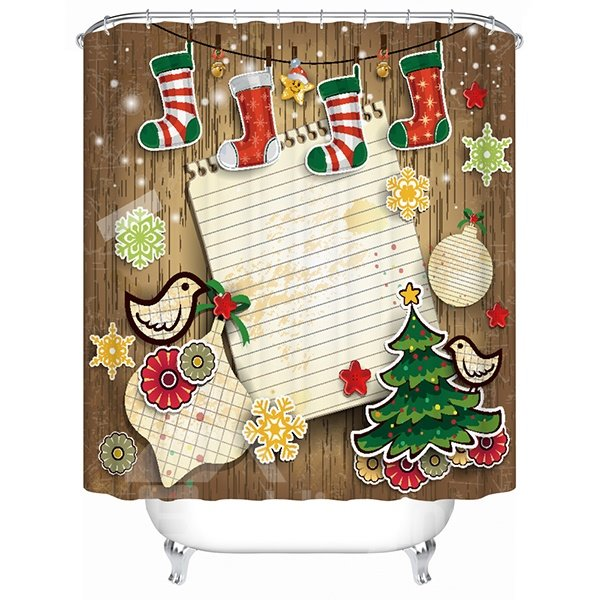 Vibrant Happy Cartoon Christmas Decor 3D Shower Curtain 11519122