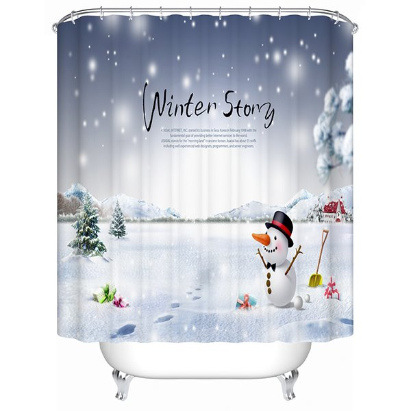 Brisk Pretty Concise Christmas Snow View Printing 3D Shower Curtain