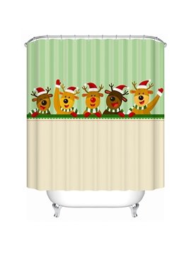 Happy Five Cartoon Cute Deers Shower Curtain