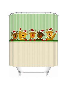 Happy Five Cartoon Cute Deers Shower Curtain