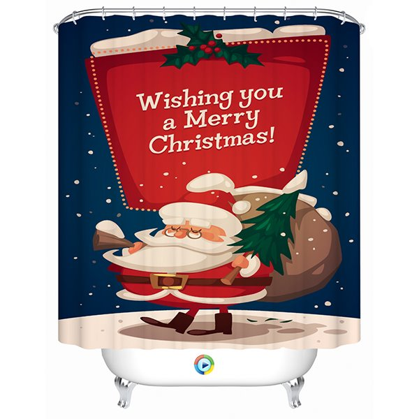 Peaceful Christmas Night with a Funny Santa Printing 3D Shower Curtain