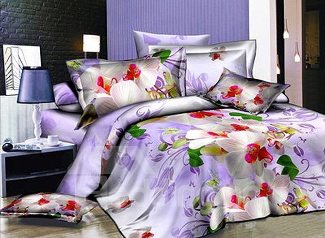 Graceful White Flowers Print Lilac 4-Piece Duvet Cover Sets