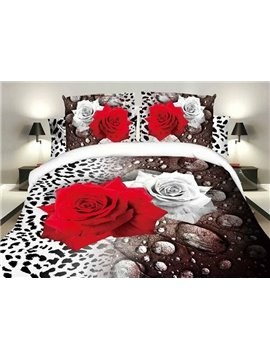 White and Red Roses Leopard Design Polyester 4-Piece Duvet Cover Sets