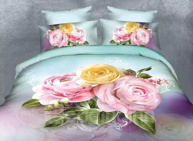 Pink and Yellow Flowers Print Polyester 4-Piece Duvet Cover Sets