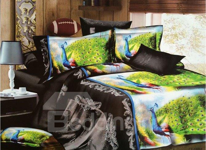 Peacocks Print Noble Jacquard 4-Piece Polyester Duvet Cover Sets
