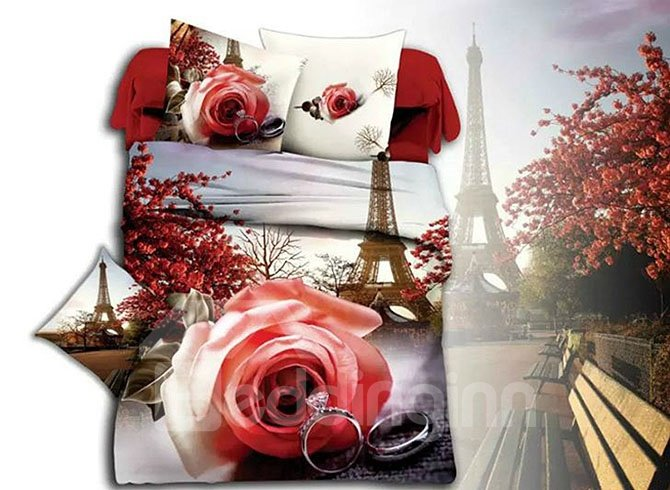 Eiffel Tower Romantic Rose & Ring Print 4-Piece Duvet Cover Sets