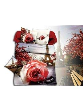 Eiffel Tower Romantic Rose & Ring Print 4-Piece Duvet Cover Sets