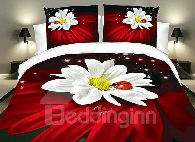 Ladybird on White Flowers Print Red 4-Piece Duvet Cover Sets