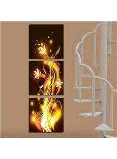 Fantastic Golden Flowers Canvas 3-Panel Wall Art Prints