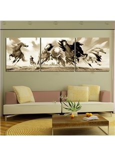 Classical Vintage Galloping Horses Canvas 3-Panel Wall Art Prints