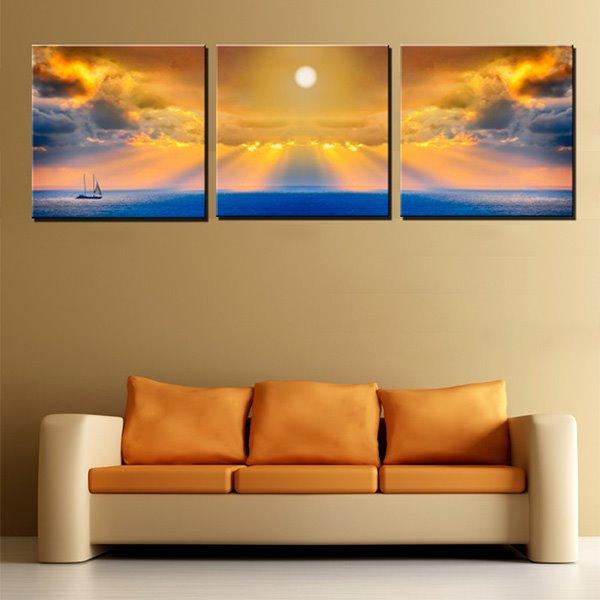 Amazing Golden Sky Canvas 3-Panel Wall Art Prints