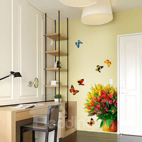 Colorful Bunch of Tulips and Butterfly Removable Wall Stickers
