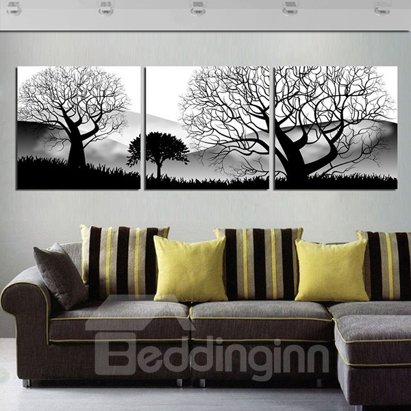 Classical Black and White Leafless Trees Canvas 3-Panel Wall Art Prints