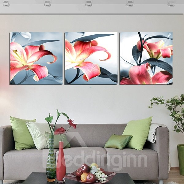 Gorgeous Red Lily Canvas 3-Panel Wall Art Prints