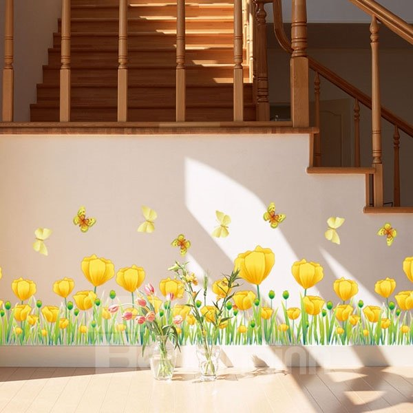 Beautiful Yellow Tulips and Butterfly Skirting Line Removable Wall Stickers