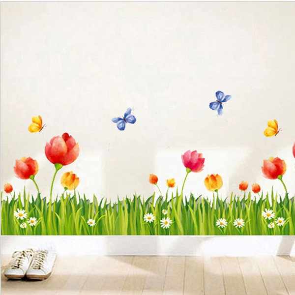 Decorative Green Grass and Red Flowers with Butterfly Skirting Line Removable Wall Stickers
