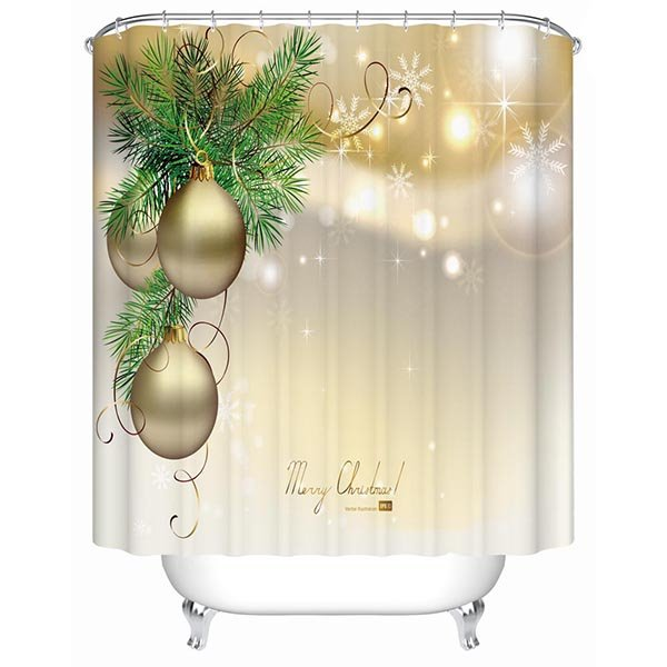 Fancy Concise Christmas Tree and Golden Baubles 3D Shower Curtain