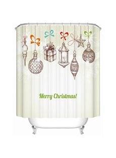 Charming Simple Christmas Baubles and Presents Printing 3D Shower Curtain