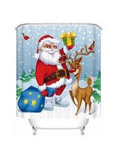 Adorable Sweet Santa and Cute Deer Printing 3D Christmas Theme Shower Curtain