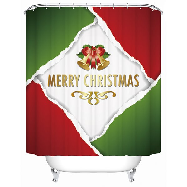 Concise Color Patchwork Red Green and White Printing Christmas Theme 3D Shower Curtain