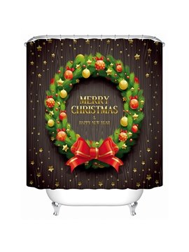 Delicate Unique Design Christmas Wreath Shower Curtain