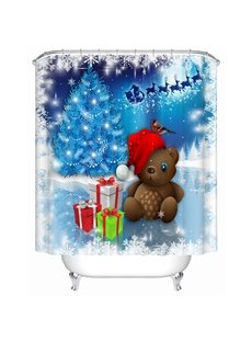 Wonderful Dreamlike Lovely Bear and Presents Shower Curtain