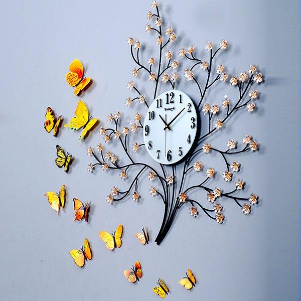 Unique Tree Design Metal Decorative Mute Wall Clock