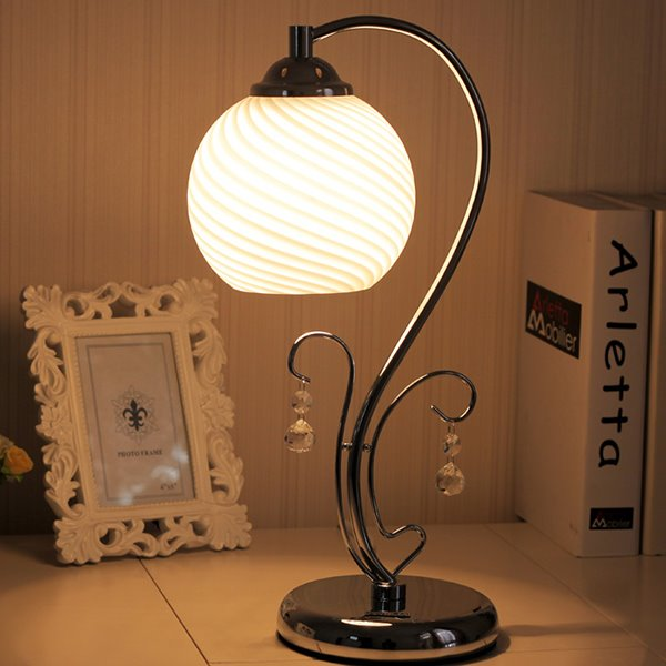 Modern Simple Glass Shade Bedroom Study Table Lamp