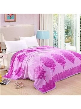 Super Warm Trees Print Pink Polyester Blanket