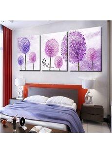 Romantic Purple Dandelion 3-Panel Canvas Wall Art Prints