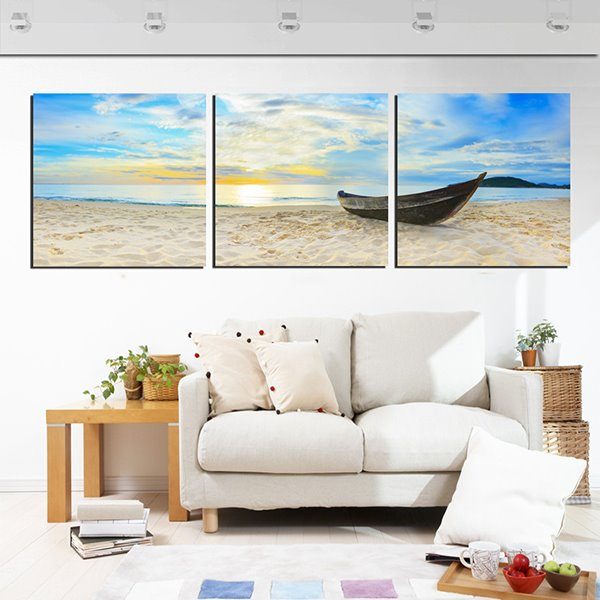 Deserted Boat on the Beach in Sunset 3-Panel Canvas Wall Art Prints