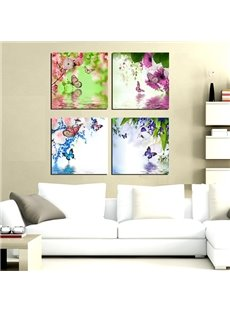 Fabulous Colorful Flowers and Butterfly 4-Panel Canvas Wall Art Prints