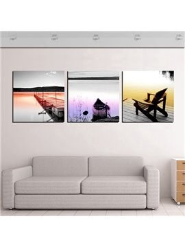 Deserted Boat and Chair Near Lake in Sunset 3-Panel Canvas Wall Art Prints