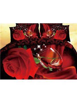 Shining Red Rose Red Wine Print 4-Piece Cotton Duvet Cover Sets