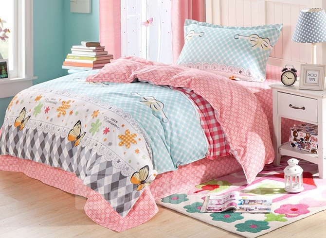 Beautiful Butterflies and Plaid Pattern Kids Pure Cotton Duvet Cover Set
