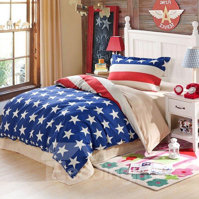 100% Cotton Stars and Stripes Pattern Kids Duvet Cover Set