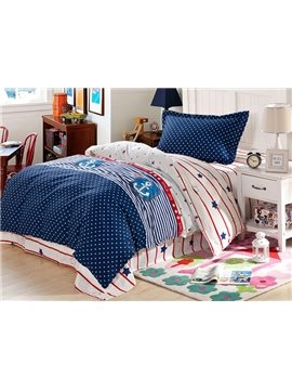 100% Cotton Polka Dot and Stripes Pattern Kids Duvet Cover Set