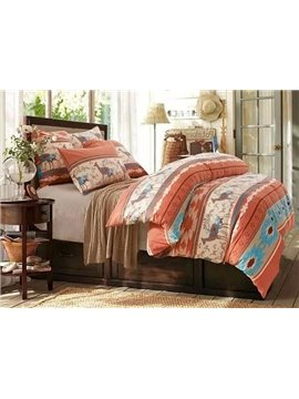 Christmas Reindeer Print High-class Cotton 4-Piece Duvet Cover Sets