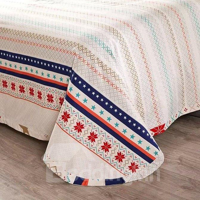 Gorgeous Christmas Elk Snowflake Print Cotton 4-Piece Duvet Cover Sets