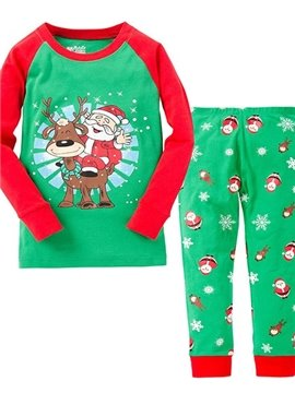 Bouncy Santa and Reindeer Print Kids Christmas Pajamas