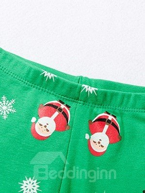 Bouncy Santa and Reindeer Print Kids Christmas Pajamas