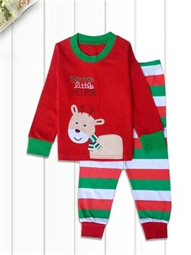 Santa's Little Helper Deer Print Kids Pajamas