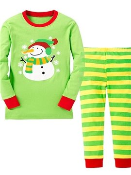 Cute Snowman and Stripes Pattern Kids Pajamas