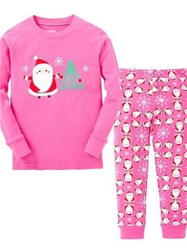 Pink Santa and Christmas Tree Print Kids Pajamas