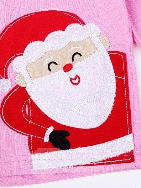 Pink Santa and Polka Dot Pattern Kids Pajamas