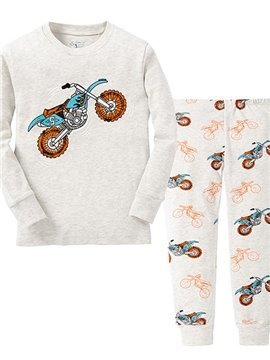 Pure Cotton Light Gray Motorcycle Print Kids Pajamas