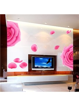 Romantic Extra Large Roses and Petal Bedroom TV Background Removable Wall Sticker