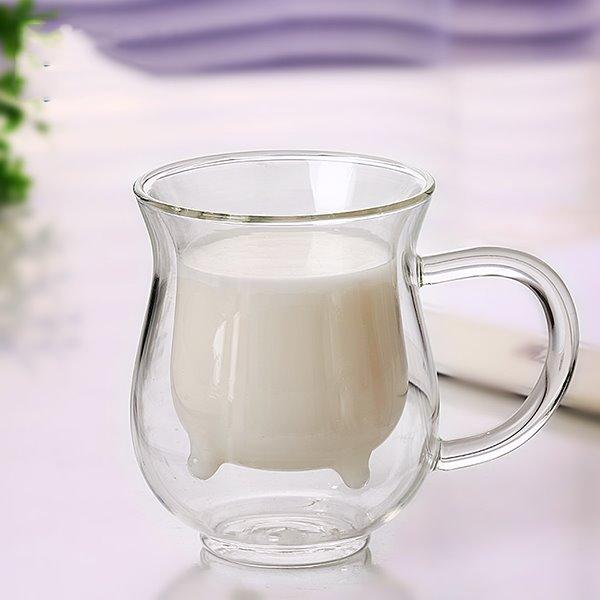 Unique Cattle Design Glass Tea Cup Milk Cup